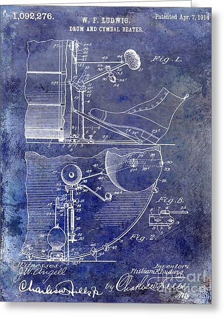 1914 Drum And Cymbal Patent Blue Greeting Card by Jon Neidert