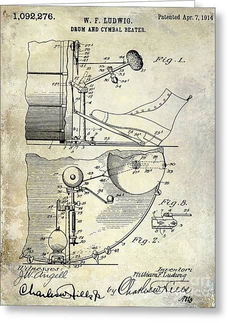 1914 Drum And Cymbal Patent Greeting Card by Jon Neidert