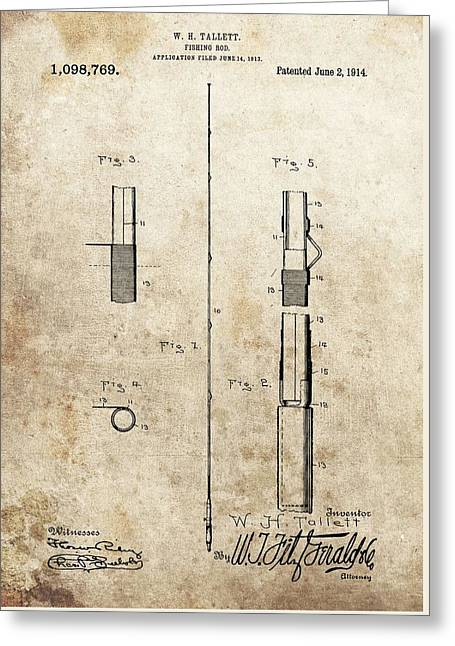 1914 Fishing Rod Patent Greeting Card