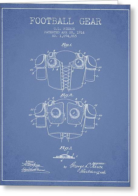 1914 Football Gear Patent - Light Blue Greeting Card by Aged Pixel