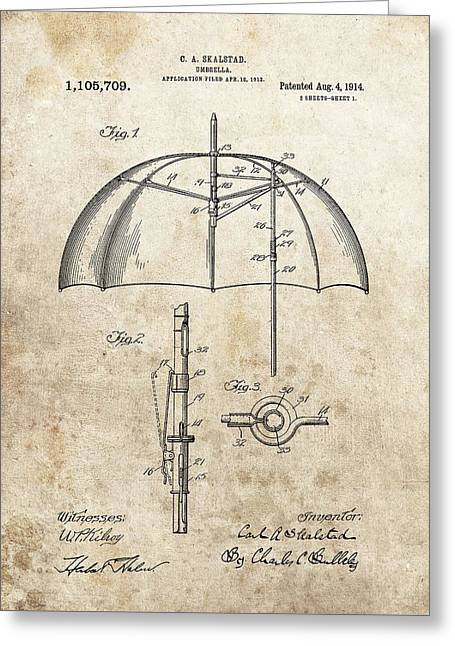 1914 Umbrella Patent Greeting Card by Dan Sproul