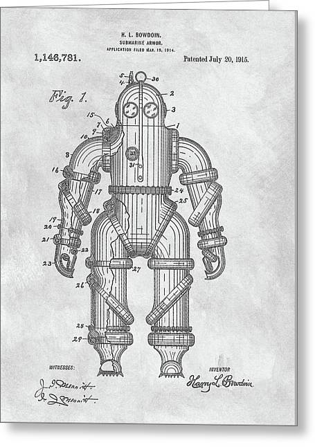 1915 Diving Suit Patent Greeting Card by Dan Sproul