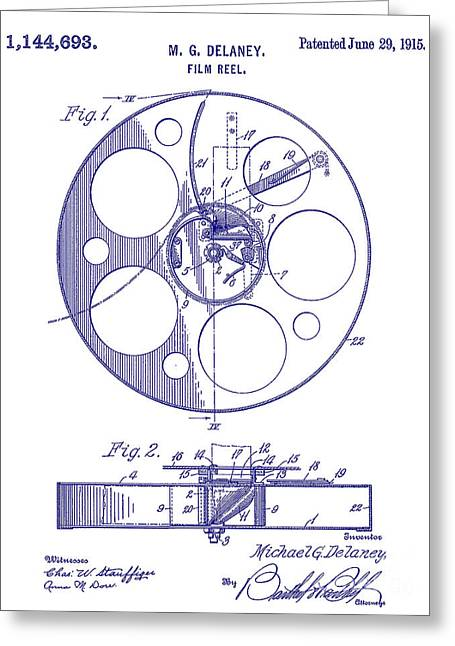 1915 Film Reel Patent Blueprint Greeting Card by Jon Neidert