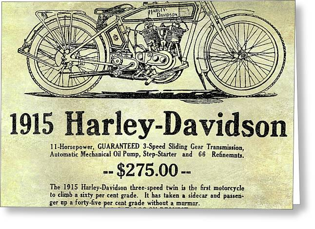 1915 Harley Davidson Advertisement Greeting Card by Jon Neidert