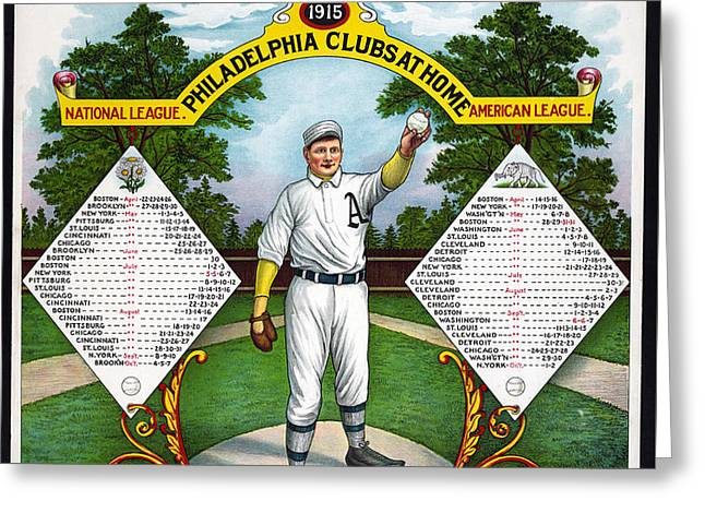 1915 National And American League Greeting Card by Charles Shoup