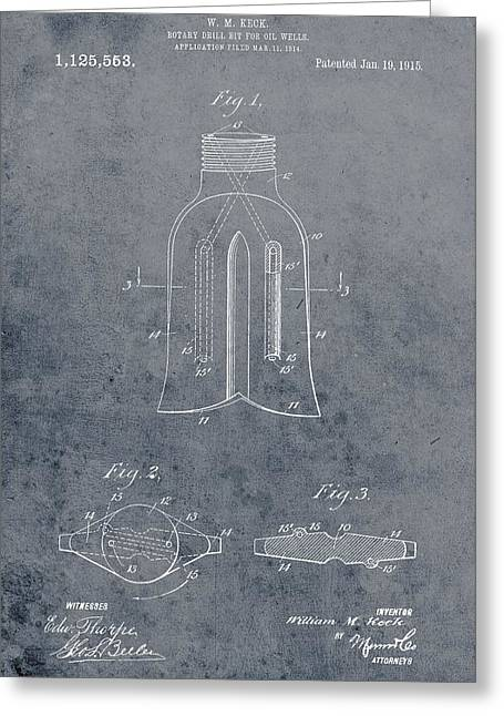 1915 Oil Drill Bit Patent Greeting Card by Dan Sproul