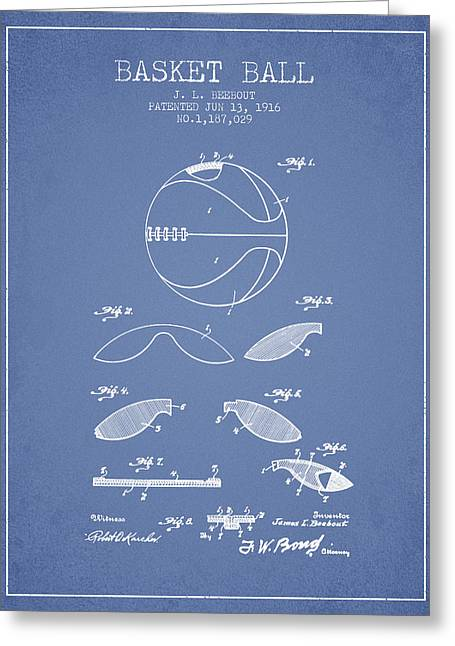 1916 Basket Ball Patent - Light Blue Greeting Card by Aged Pixel