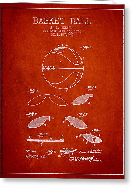 1916 Basket Ball Patent - Red Greeting Card by Aged Pixel