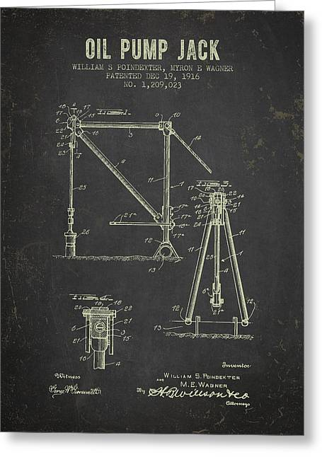 1916 Oil Pump Jack Patent - Dark Grunge Greeting Card by Aged Pixel