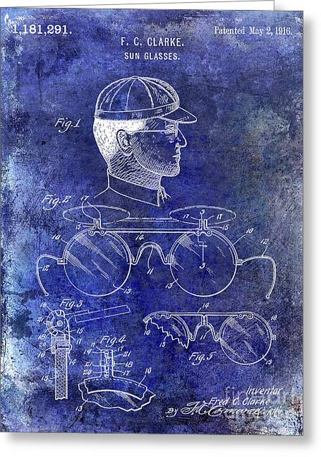 1916 Sunglasses Patent Blue Greeting Card by Jon Neidert