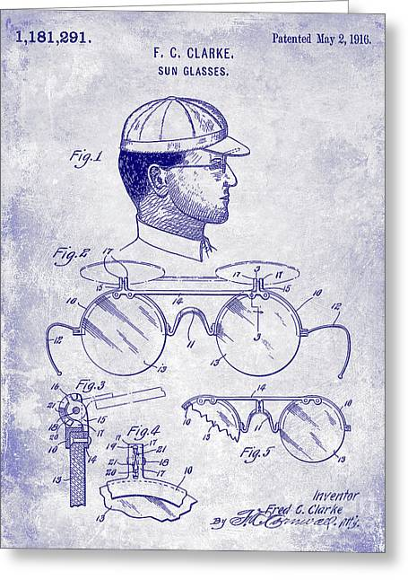 1916 Sunglasses Patent Blueprint Greeting Card by Jon Neidert