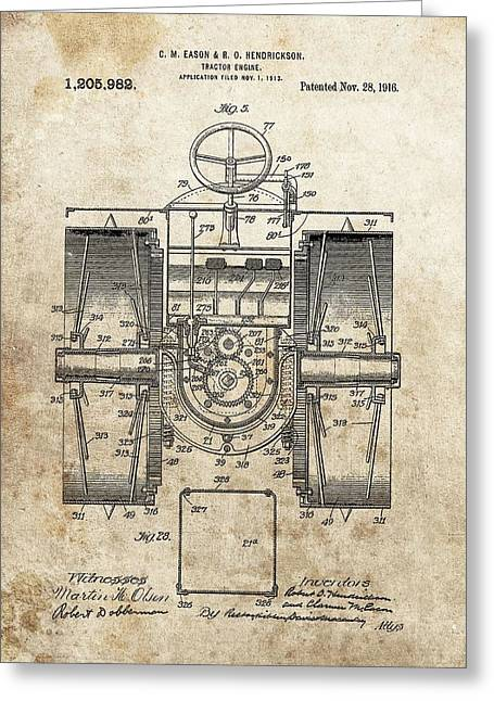 1916 Tractor Patent Greeting Card by Dan Sproul