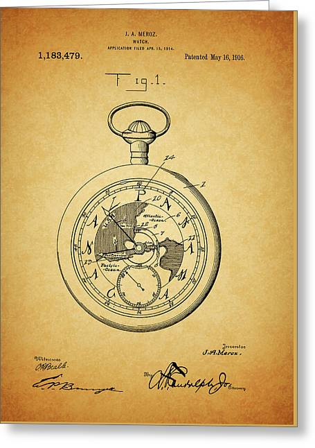 1916 Travel Watch Patent Greeting Card