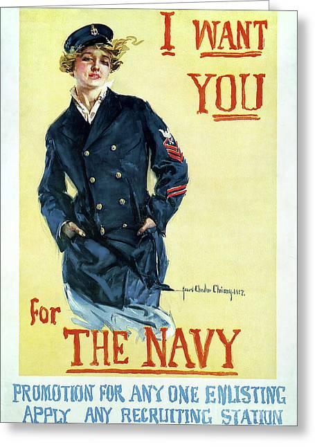 1917 Navy Recruiting Poster Greeting Card by Jon Neidert