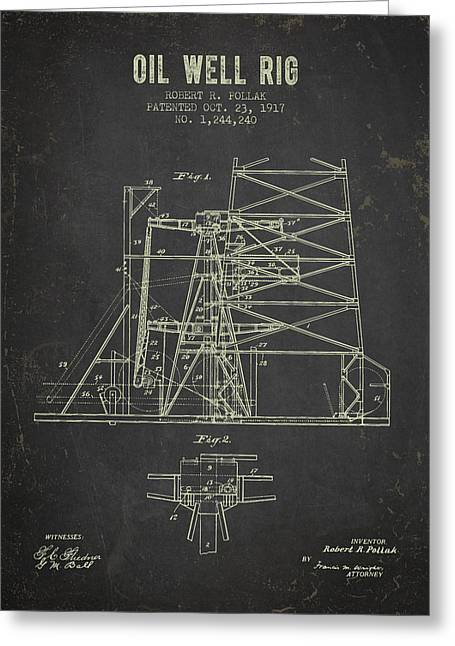 1917 Oil Well Rig Patent - Dark Grunge Greeting Card by Aged Pixel