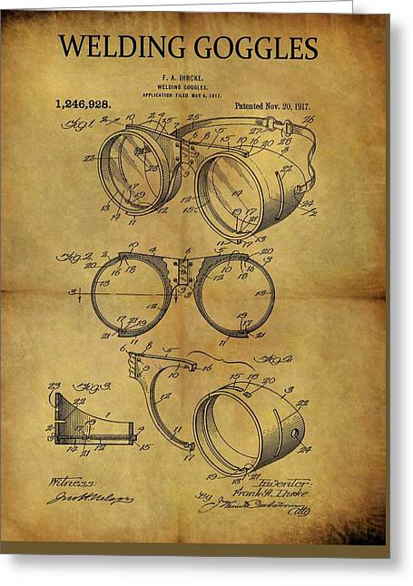 1917 Welding Goggles Patent Greeting Card by Dan Sproul