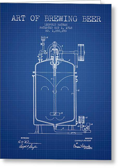 1918 Art Of Brewing Beer Patent - Blueprint Greeting Card by Aged Pixel