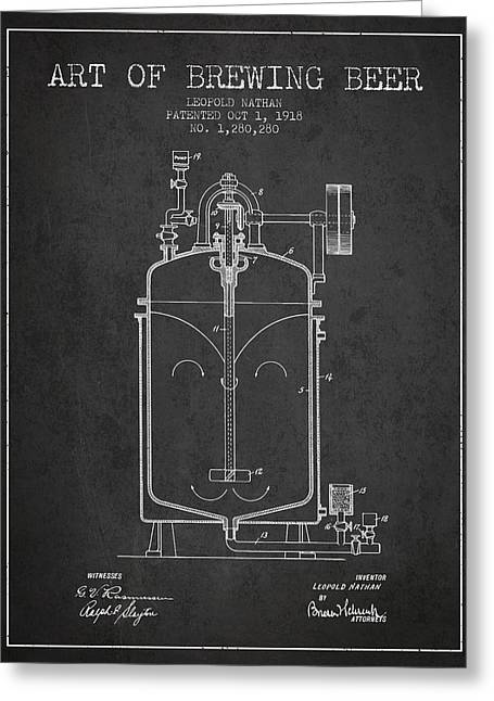 1918 Art Of Brewing Beer Patent - Charcoal Greeting Card by Aged Pixel