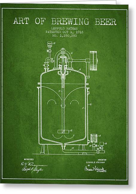 1918 Art Of Brewing Beer Patent - Green Greeting Card by Aged Pixel