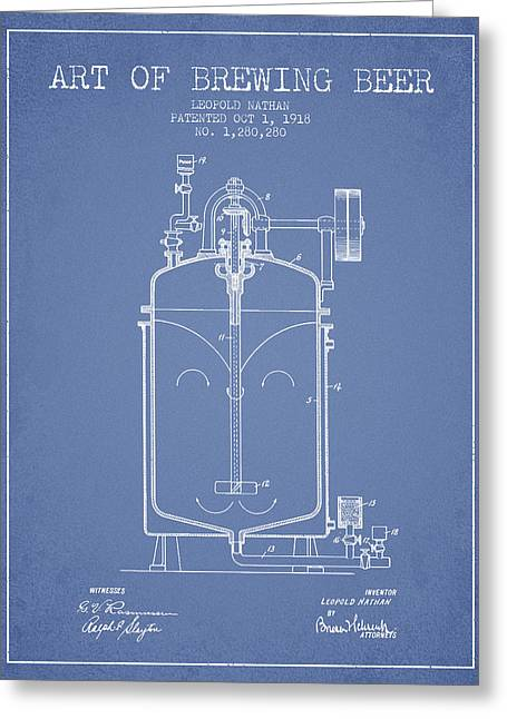 1918 Art Of Brewing Beer Patent - Light Blue Greeting Card by Aged Pixel