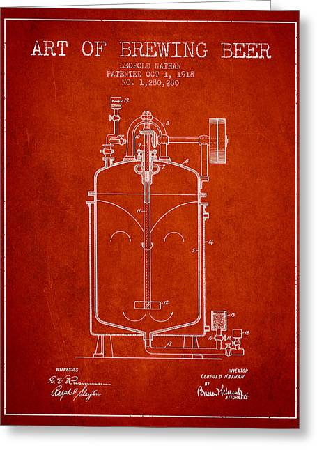 1918 Art Of Brewing Beer Patent - Red Greeting Card