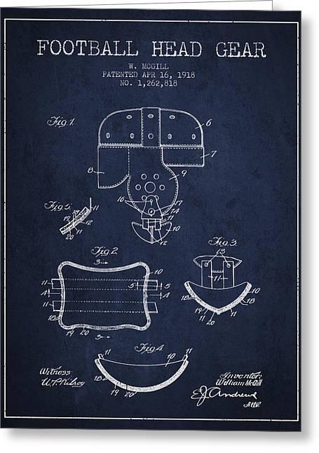 1918 Football Head Gear Patent - Navy Blue Greeting Card