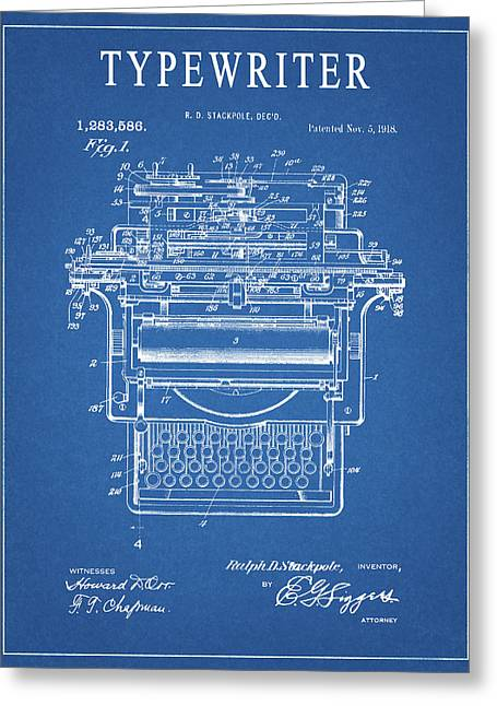 1918 Typewriter Greeting Card