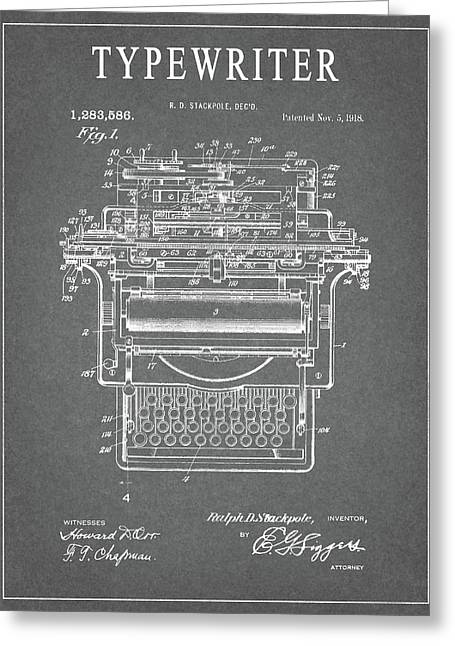 1918 Typewriter Design Patent Greeting Card