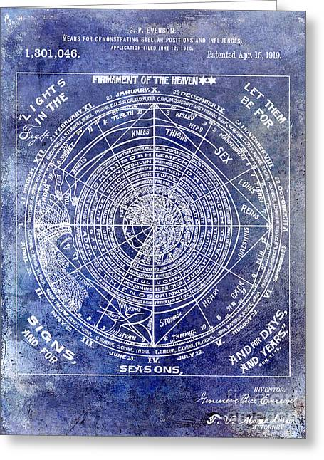 1919 Astrology Patent Blue Greeting Card by Jon Neidert