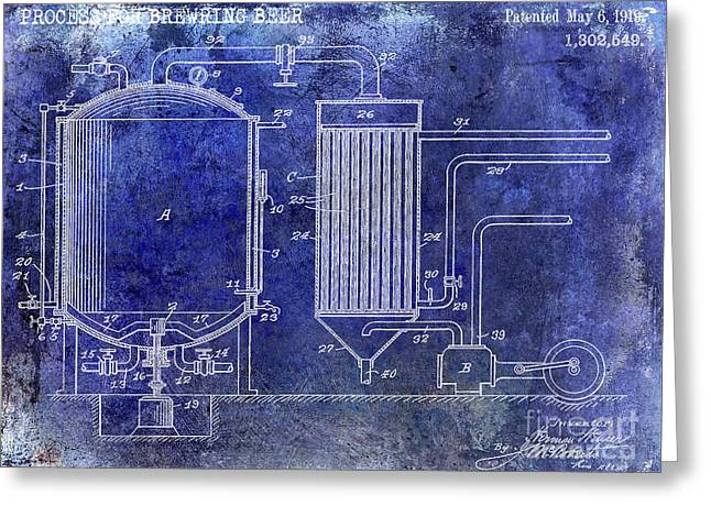 1919 Beer Brewing Patent Blue Greeting Card