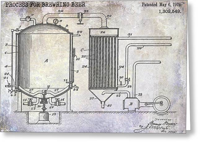 1919 Beer Brewing Patent Greeting Card by Jon Neidert
