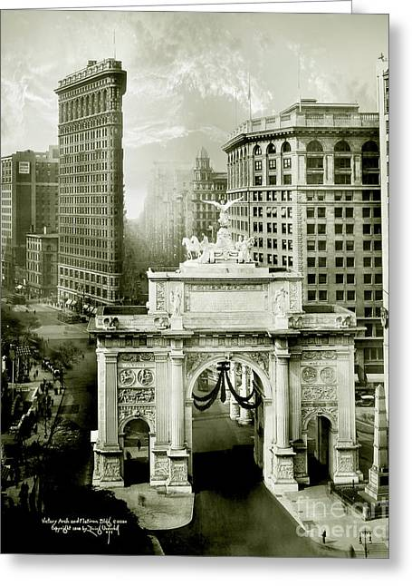1919 Flatiron Building With The Victory Arch Greeting Card by Jon Neidert