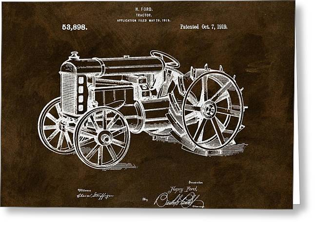 1919 Henry Ford Tractor Brown Greeting Card by Dan Sproul