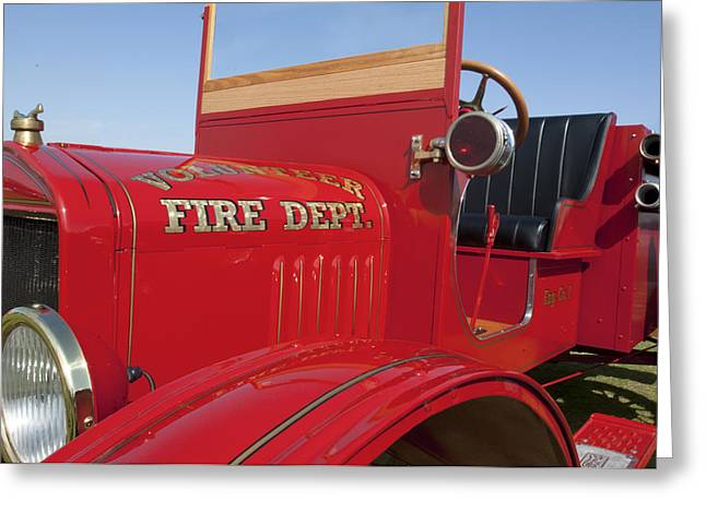 1919 Volunteer Fire Truck Greeting Card by Jill Reger