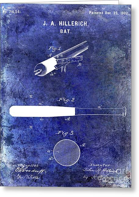 1920 Baseball Bat Patent Blue Greeting Card by Jon Neidert