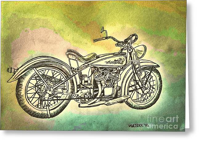 1920 Indian Motorcycle Graphite Pencil - Watercolor Greeting Card