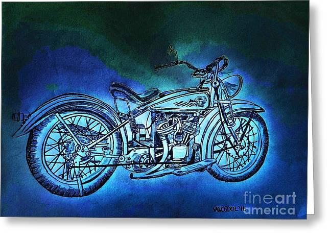 1920 Indian Motorcycle - Midnight Ride Greeting Card by Scott D Van Osdol