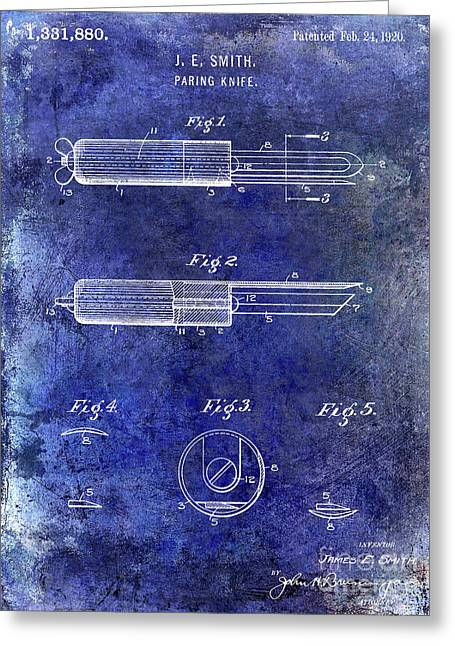 1920 Paring Knife Patent Blue Greeting Card