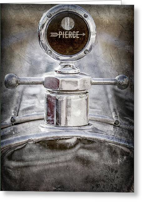 Greeting Card featuring the photograph 1920 Pierce-arrow Model 48 Coupe Hood Ornament -2829ac by Jill Reger