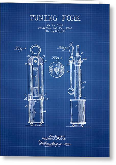 1920 Tuning Fork Patent - Blueprint Greeting Card