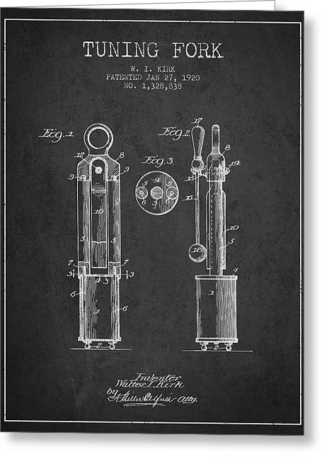 1920 Tuning Fork Patent - Charcoal Greeting Card