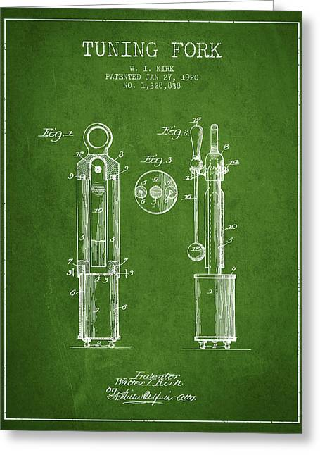 1920 Tuning Fork Patent - Green Greeting Card