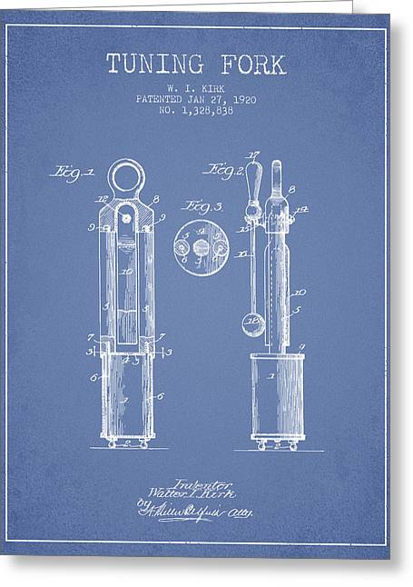 1920 Tuning Fork Patent - Light Blue Greeting Card