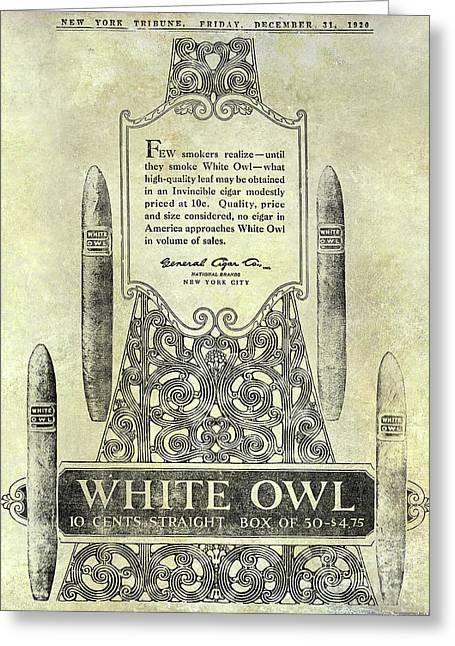 1920 White Owl Cigar Advertisement Greeting Card by Jon Neidert