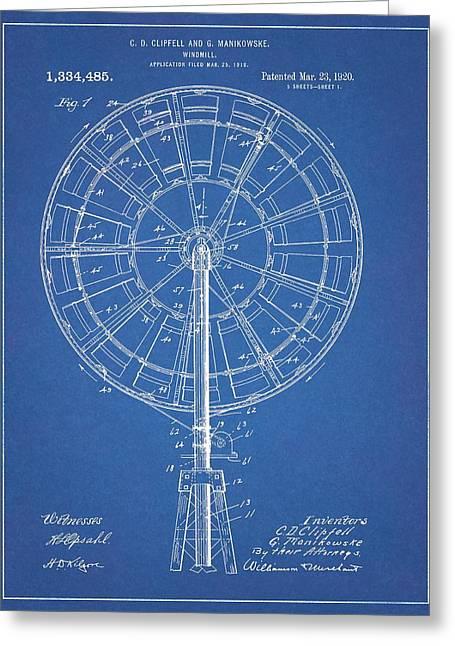 1920 Windmill Patent Blueprint Greeting Card