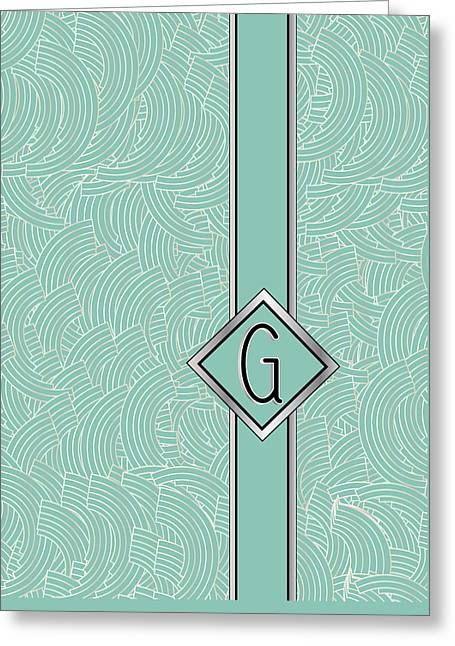 1920s Blue Deco Jazz Swing Monogram ...letter G Greeting Card by Cecely Bloom