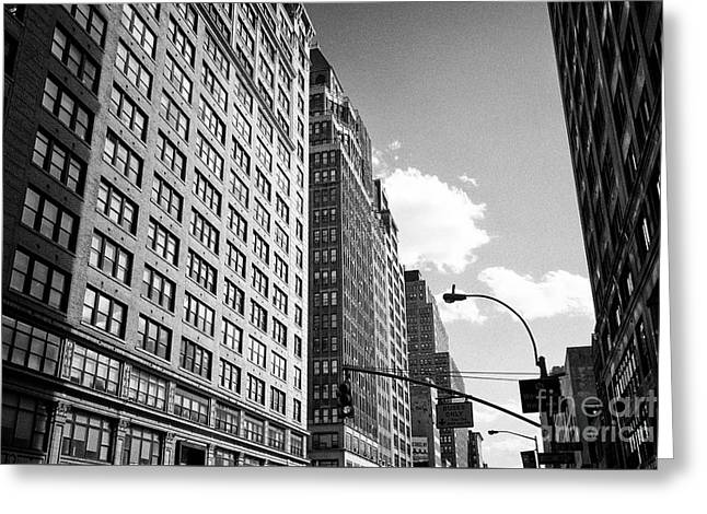 1920s Office Buildings Looking Down Seventh Avenue Midtown New York City Usa Greeting Card