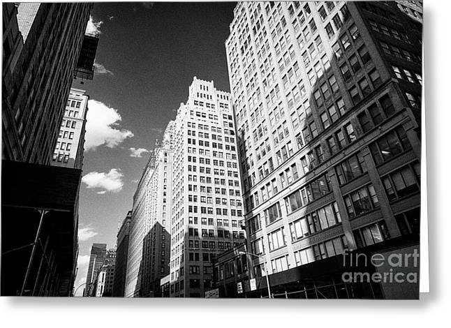 1920s Office Buildings Looking Up Seventh Avenue Midtown New York City Usa Greeting Card