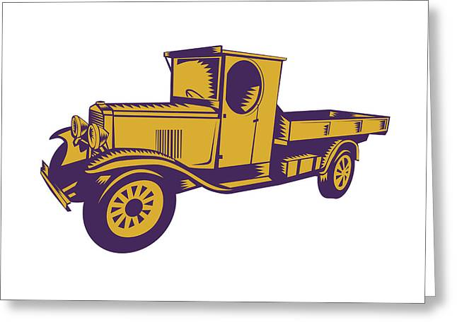 1920s Pick-up Truck Woodcut Greeting Card