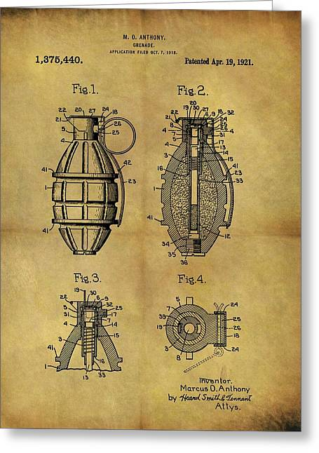 1921 Grenade Patent Greeting Card by Dan Sproul